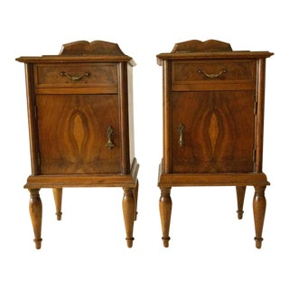 1950s Victorian Burl Wood & Marble Accent Tables - a Pair For Sale