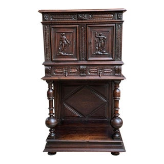 19th Century French Renaissance Archer Warrior Carved Oak Bookcase For Sale