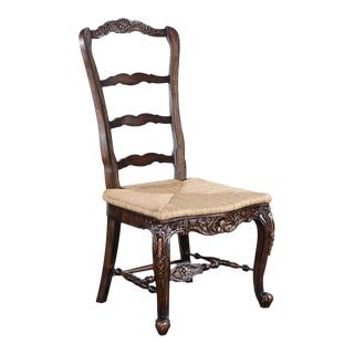 New French Country Tall Chair Walnut Intricate For Sale