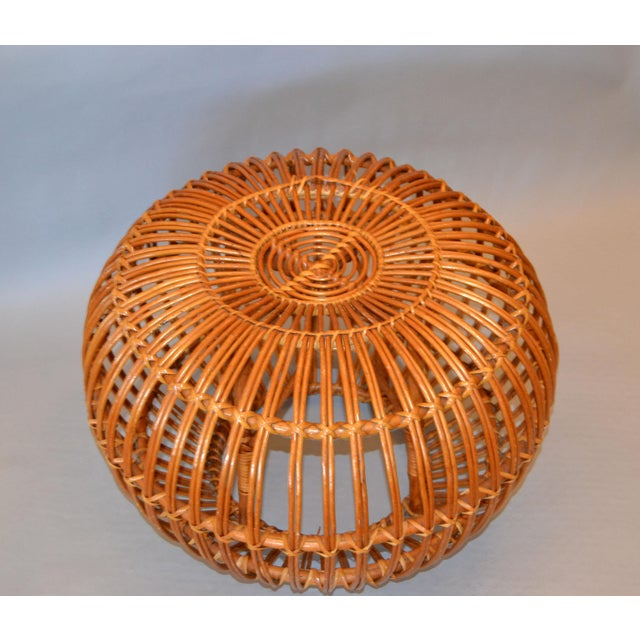 1960s Vintage Franco Albini Hand-Woven Rattan / Wicker Ottoman Pouf For Sale - Image 5 of 12