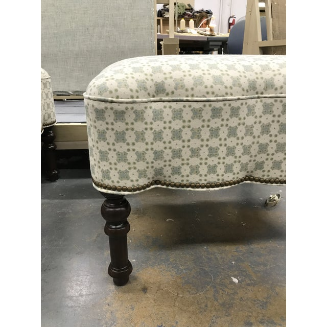 2010s Custom Holland and Sherry Fabric Upholstered Scalloped Ottoman For Sale - Image 5 of 8