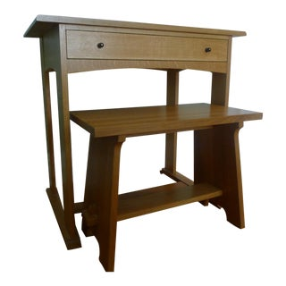 Stickley Mission Oak Harvey Ellis Writing Desk and Fireside Stool