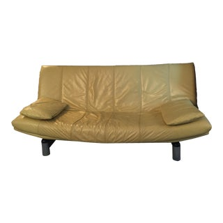 Modern Yellow Leather Futon