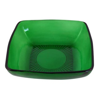 "1950s Anchor Hocking ""Charm"" Square Green Glass Salad Bowl For Sale"