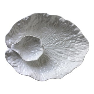Cabbage Leaf Portuguese Majolica Serving Bowl