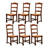 Image of French Carved Oak Ladder Back Chairs With Rush Woven Seat, Set of Six For Sale