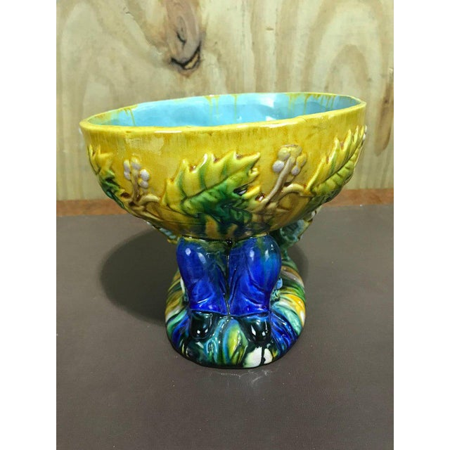 "Ceramic Majolica George Jones Style ""Punch"" Bowls - A Pair For Sale - Image 7 of 10"
