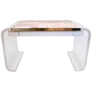 Vanity or Desk in Lucite and Marble by Lion in Frost For Sale
