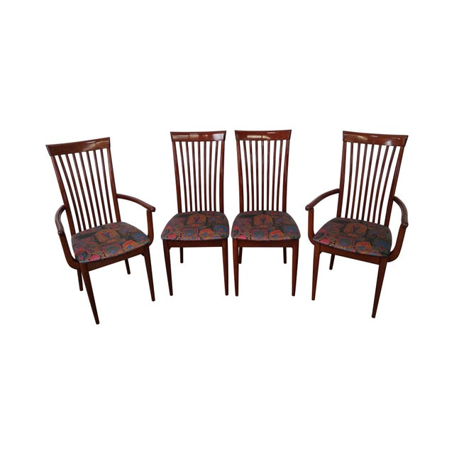 Mid Century Italian Spindle Back Dining Chairs - Set of 4 For Sale