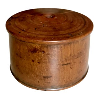 Burlwood Powder Box With Threaded Lid For Sale