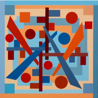 """Dilemma"" Contemporary Geometric Hard Edge Acrylic Painting by Sassoon Kosian For Sale"