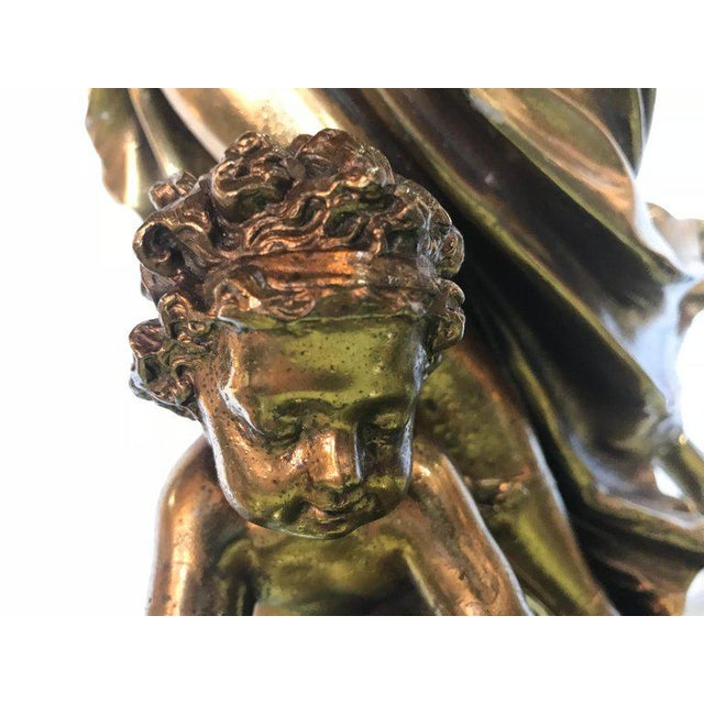 Large Duplex Bronze Figure Woman and a Child Holding a Custom Glass Shade For Sale - Image 12 of 13