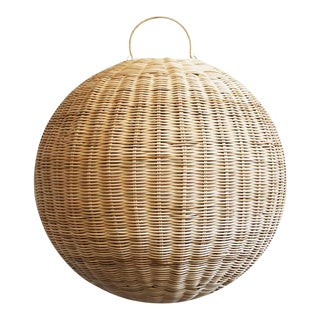 Raw Rattan Globe Lantern Small For Sale