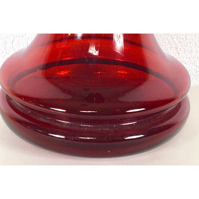 Modern 1970s Blenko Ruby Red Vase For Sale - Image 3 of 10