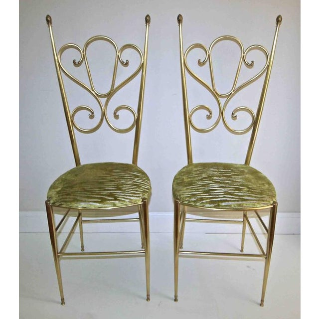 Mid-Century Modern 1950s Italian all Back Brass Chiavari Side Chairs - a Pair For Sale - Image 3 of 11