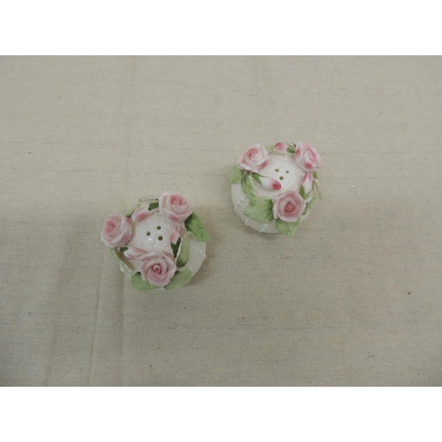 """Petite Pair of Small Bone China Sea Urchin Salt and Pepper Shakers Sound sea urchins topped with pink roses Size: 2"""" D x 2"""" H"""