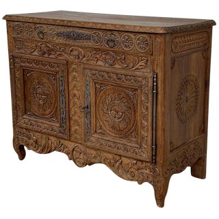 19th Spanish Hand Carved Baroque Oak Cabinet With Two Drawers and Two Doors For Sale