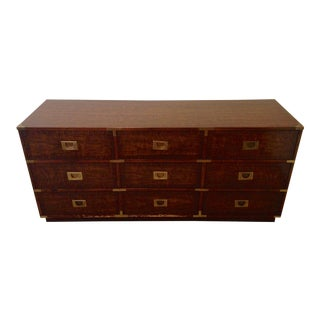 Drexel 9 Drawer Campaign Lowboy Dresser For Sale