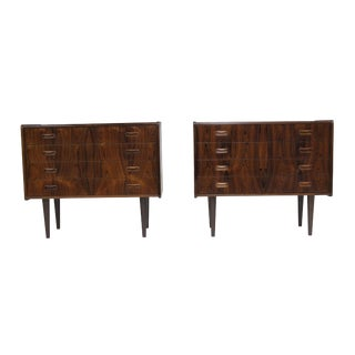 Danish Rosewood Nightstands Cabinets - a Pair For Sale