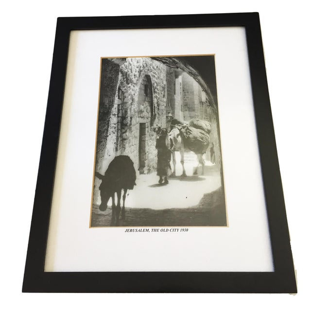 Superb photograph of Jerusalem,The old city 1930 in black and white framed with beige mat and black frame .