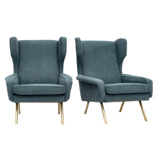 Teal Mid-Century Armchairs For Sale