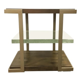 Caracole Modern Wood and Bubble Glass Artisans End Table For Sale