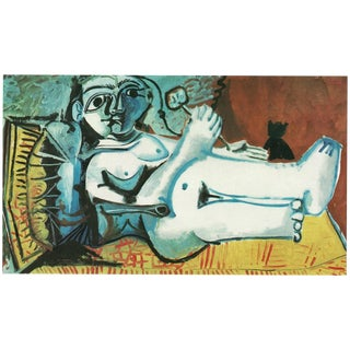 """1971 Picasso Period Parisian Photogravure """"Lying Female Nude With Cat"""" For Sale"""