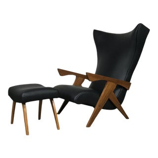 Jose Zanine Caldas 'Pau Ferra' Wood Chair & Ottoman For Sale