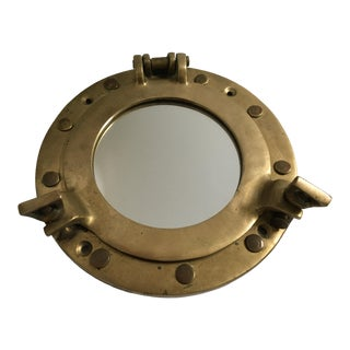 Vintage Salvaged Nautical Brass Small Porthole Mirror For Sale
