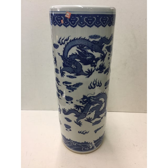 Chinese Blue and White Umbrella Stand Dragon Decoration For Sale - Image 5 of 5