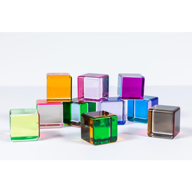 Blue Set of 10 Colored Lucite Cubes by Vasa Mihich For Sale - Image 8 of 8
