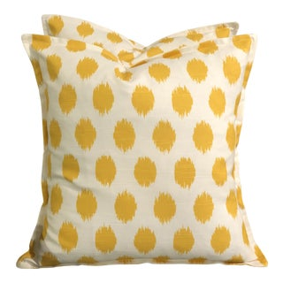 Yellow & White Slub Linen Pillows - a Pair