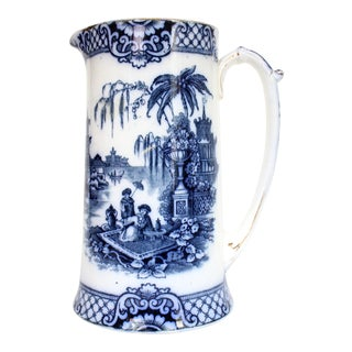 Early 20th Century Large Flow Blue Water Pitcher For Sale