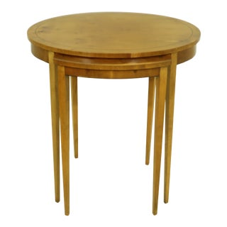 Baker Yew Wood English Style Nesting Tables For Sale