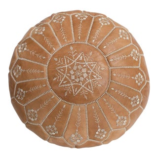 Embroidered Leather Pouf, Natural Desert Starburst Stitch For Sale