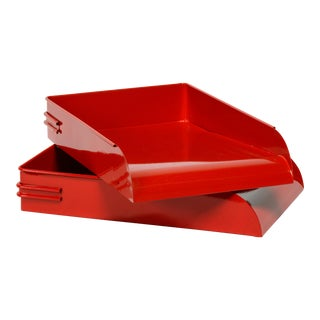 1930s Steel Letter Tray Refinished in Gloss Red, 2 Available For Sale