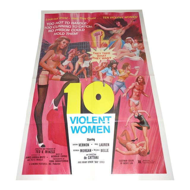 """Vintage Movie Poster, Cult 'B' Movie """"10 Violent Women"""""""" Circa 1982. New. Rare. Wonderful Extra Campy Piece. No Others Like This One. For Sale"""