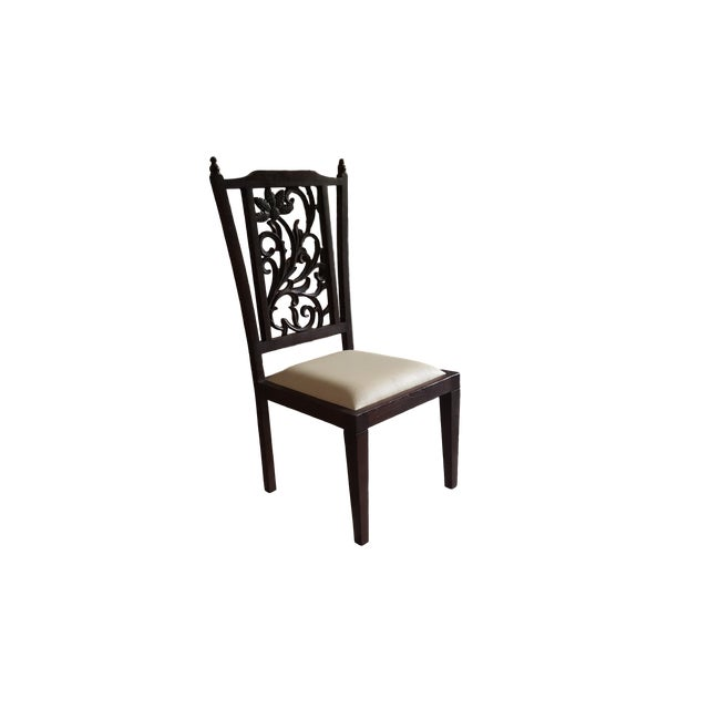 Teak Wood Carved Back Dining Chairs - Set of 6 - Image 3 of 5