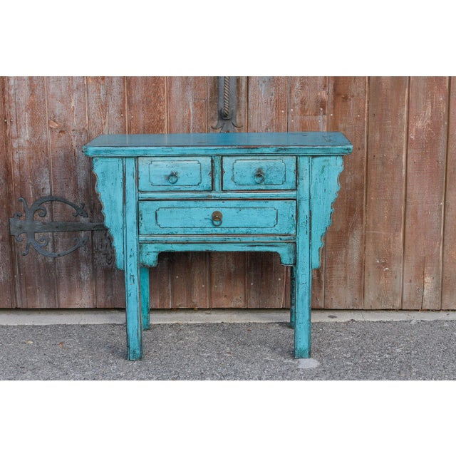 Turquoise Beautiful Chinese Turquoise Altar Dresser For Sale - Image 8 of 9