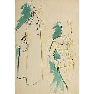 """Vintage """"Pocket Dress & Coat"""" Fashion Sketch For Sale"""