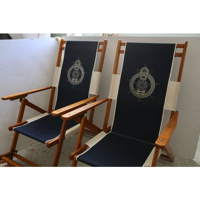 Oakwood Deck Chairs With Blue and White Upholstery - a Pair For Sale - Image 4 of 10