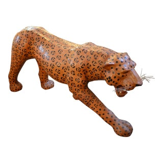 Vintage Mid Century Leather Life Size Cheetah Sculpture For Sale