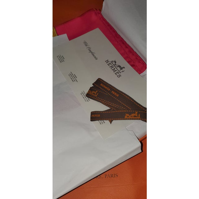 Paper 1990 Hermes Scarf With Box, Bag, Receipt, Care Card For Sale - Image 7 of 10