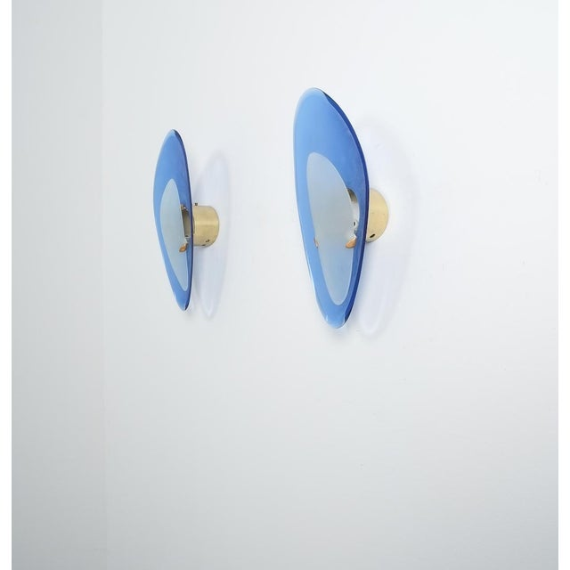 Pair of Max Ingrand Fontana Arte Blue Glass Sconces Wall Lamps, Italy, 1960 For Sale - Image 9 of 13