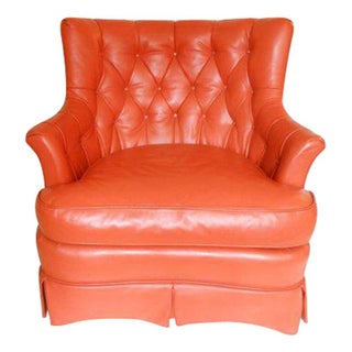 Tomlinson Mid-Century Orange Leather Lounge Chair