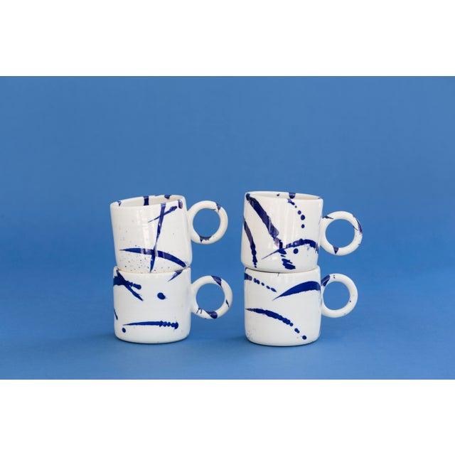 Not Yet Made - Made To Order Indigo Splattered Ceramic Circle Mug - Set of 4 For Sale - Image 5 of 5