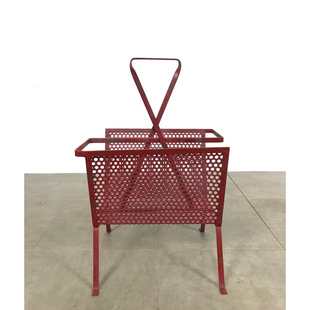 Mid-Century Modern 1950's Mathieu Mategot Attributed Red Metal Magazine Holder For Sale - Image 3 of 12