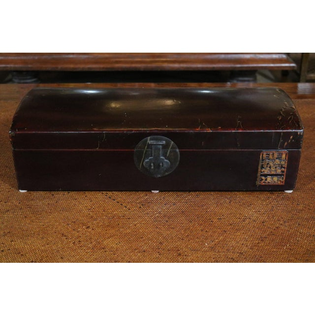 Wood Chinese Black Lacquer Leather Table Chest For Sale - Image 7 of 7