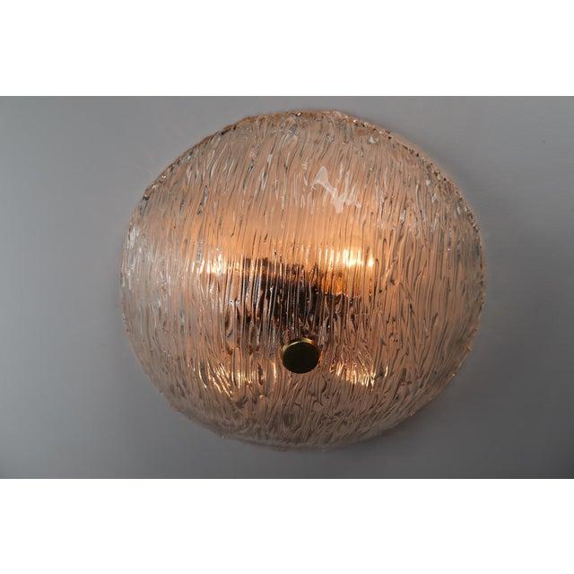 Brass Round Modernist Textured Ice Glass Flush Mounts By Kalmar Austria For Sale - Image 8 of 12