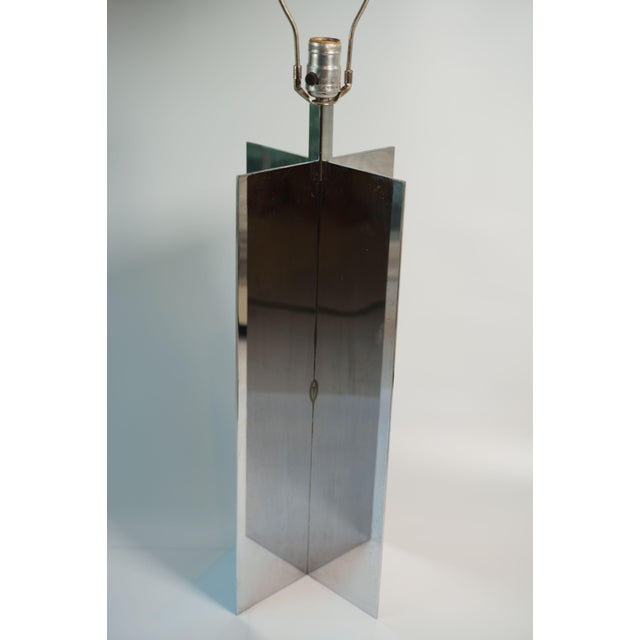 Large, Heavy Vintage Crosspiece Style Chrome Lamp. Piece is very substantial. In the style of Jean Michael Frank...